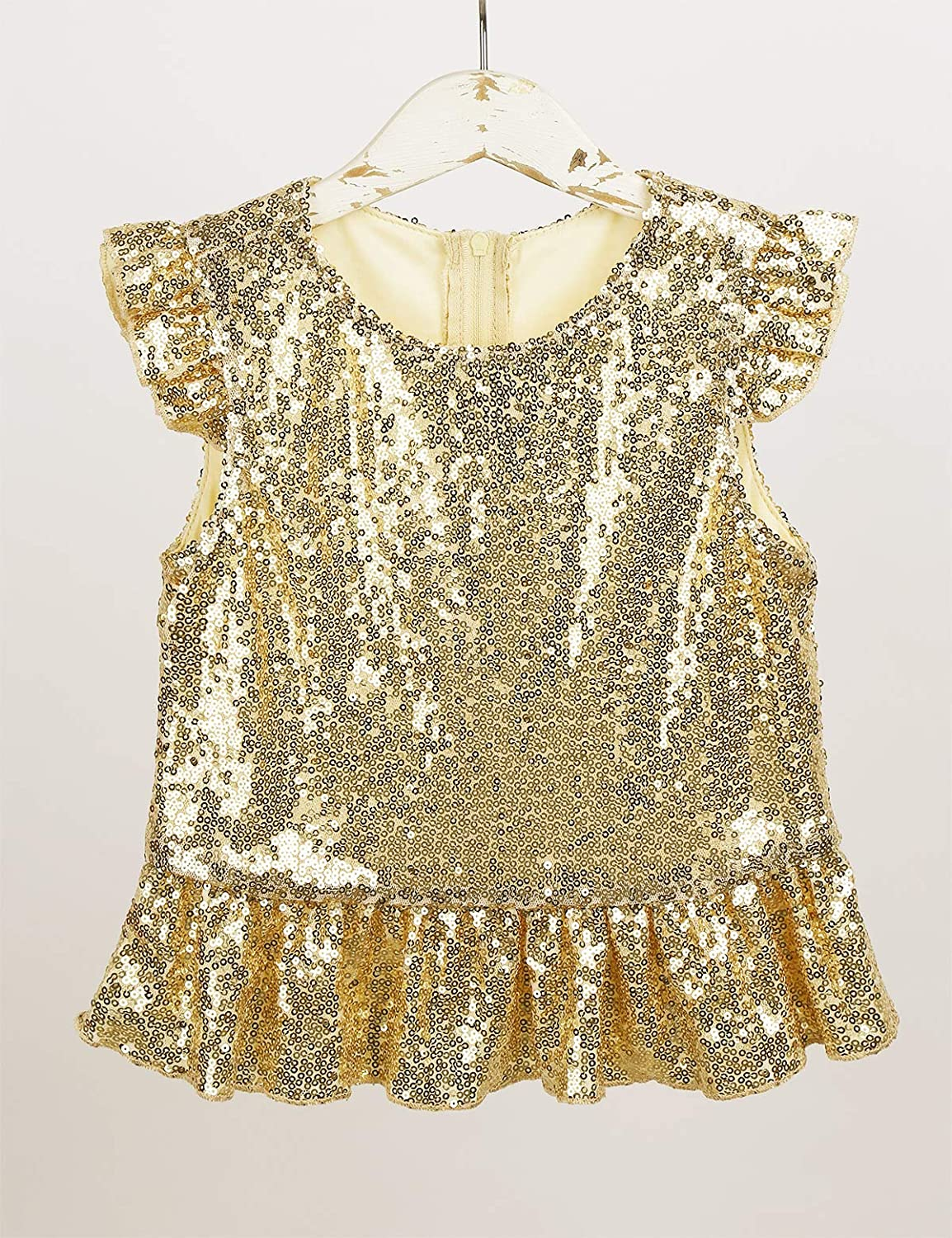 Agoky Girls Sparkly Sequins Camisole Tank Top Stage Performance Mermaid Tee Shirts Dancewear Costume