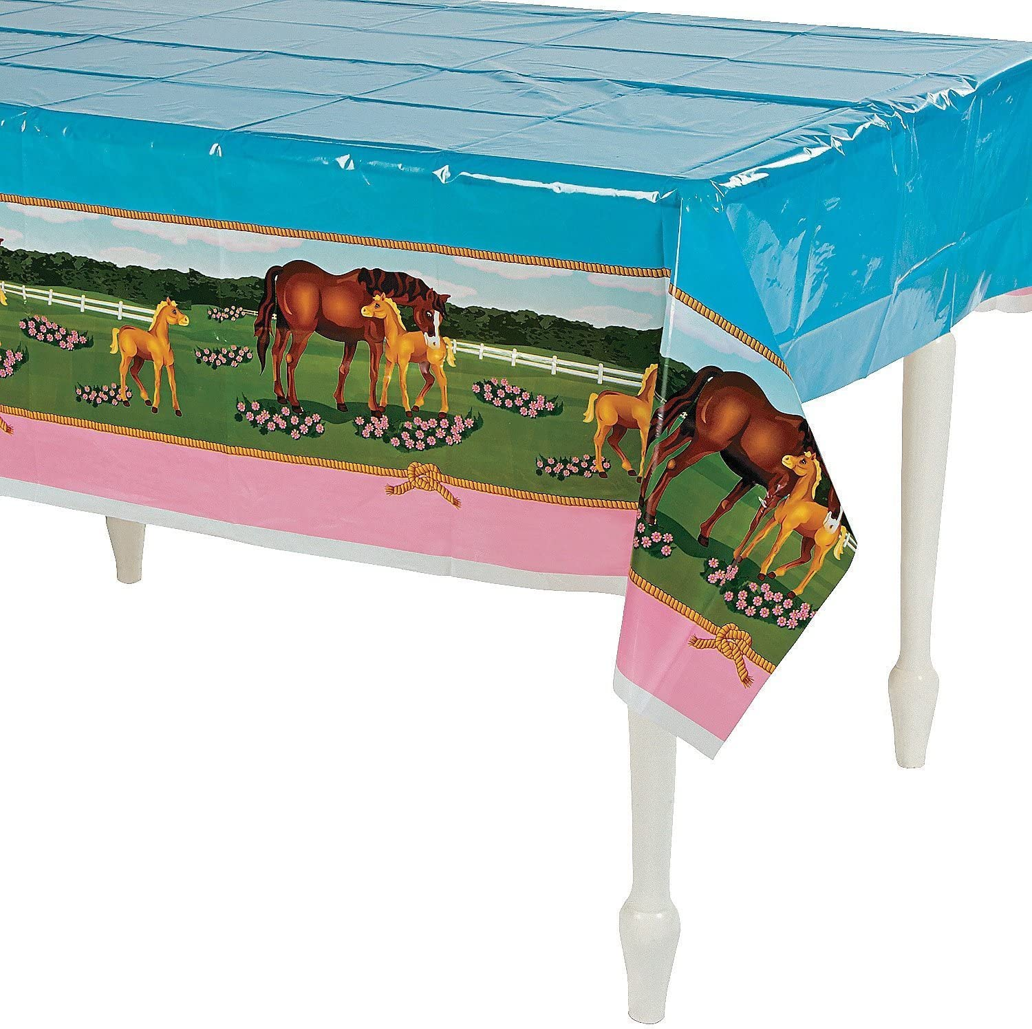 Amazon.com: Fun Express Horse Mare and Foal Plastic Table Cover ...
