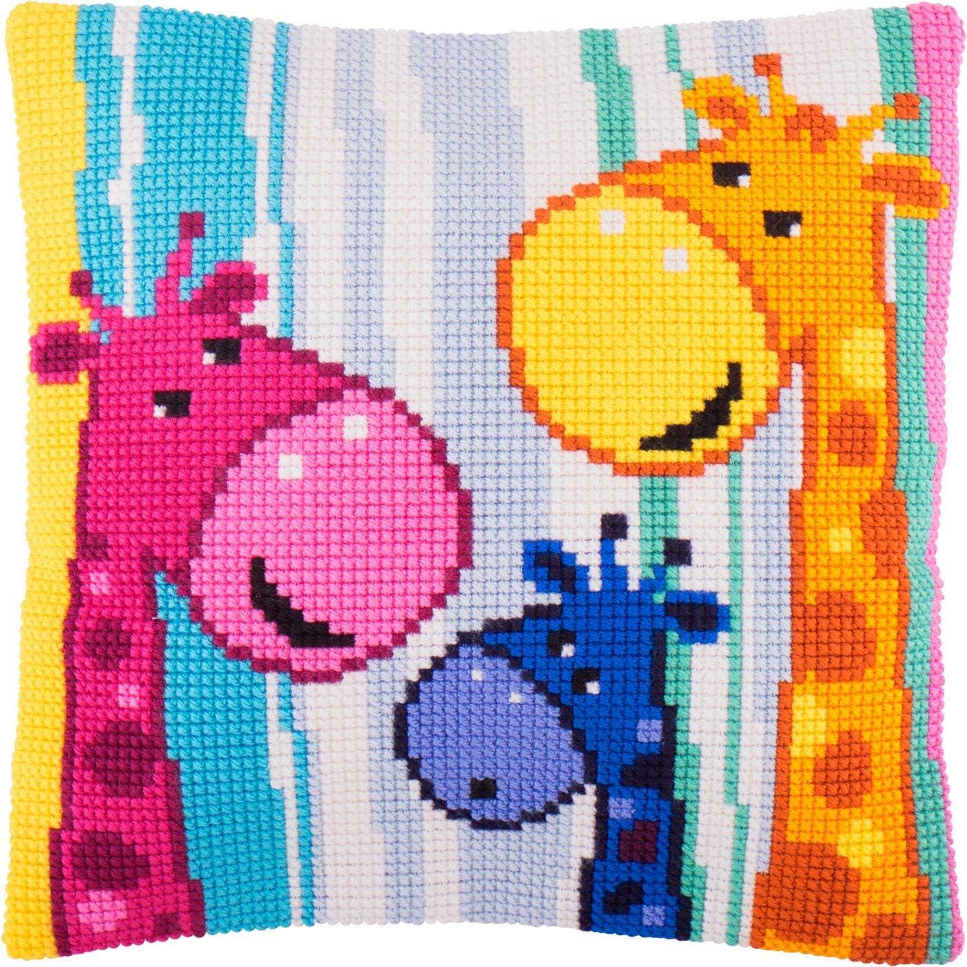Giraffes Throw Pillow Case 16/×16 Inches Extra Stiff Canvas Cross Stitch Kit Premium European Quality