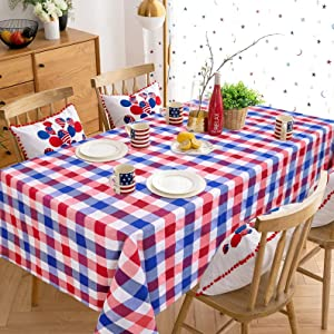 Independence Day Buffalo Plaid Tablebloth Red White Blue 56x120 inch Check Tablecloth for Independence Day Decoration Outdoor Party Kitchen Dinner Table Decor
