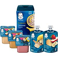 Gerber Purees 2nd Foods Pouches, Puree Tubs & Probiotic Cereal Assorted Variety...