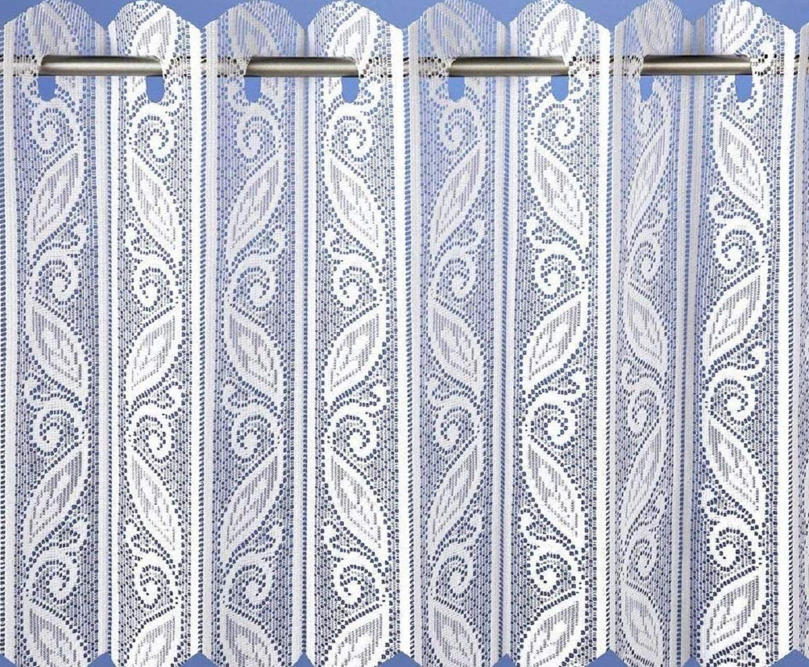 Lace Net Voile Louvre Vertical Pleated Window Blind Panel Curtain White (72