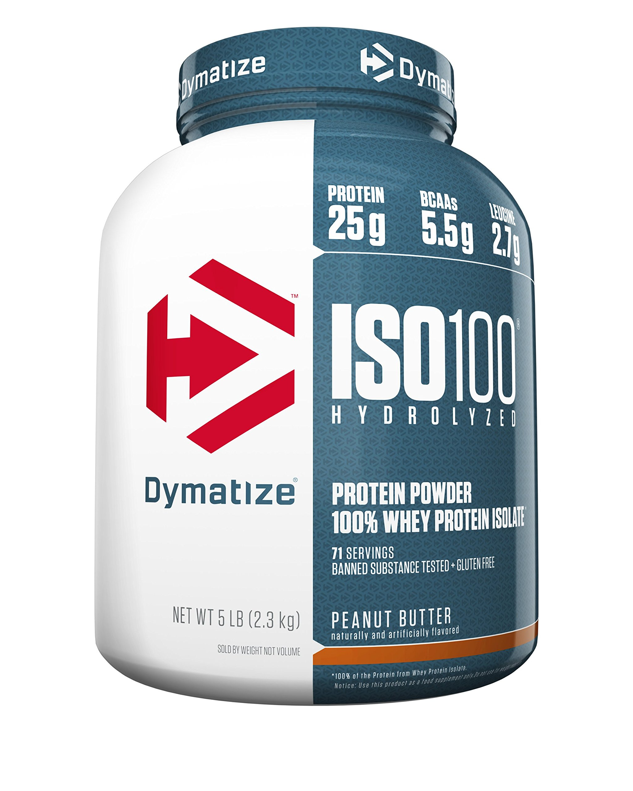 Dymatize ISO 100 Whey Protein Powder with 25g of Hydrolyzed 100% Whey Isolate, Gluten Free, Fast Digesting, Peanut Butter, 5 Pound by Dymatize