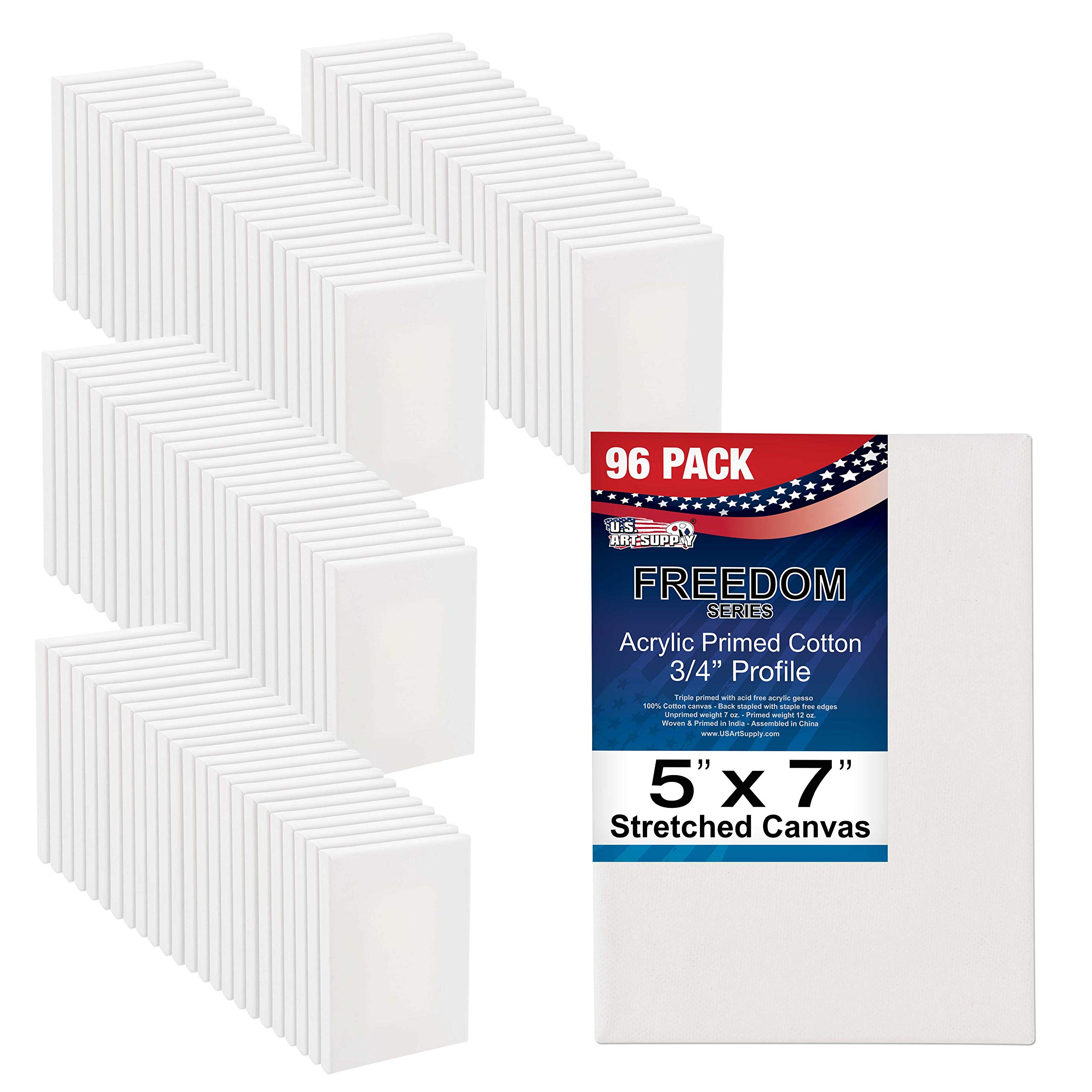U.S. Art Supply 5 x 7 inch Stretched Canvas 12-Ounce Primed 96-Pack - Professional White Blank 3/4'' Profile Heavy-Weight Gesso Acid Free Bulk Pack - Painting, Acrylic Pouring, Oil Paint by US Art Supply