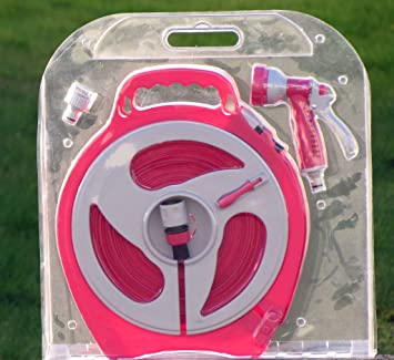 15M Flat Garden Hose Pipe + Spray Gun Gardening Set Pink Color Ideal Gift