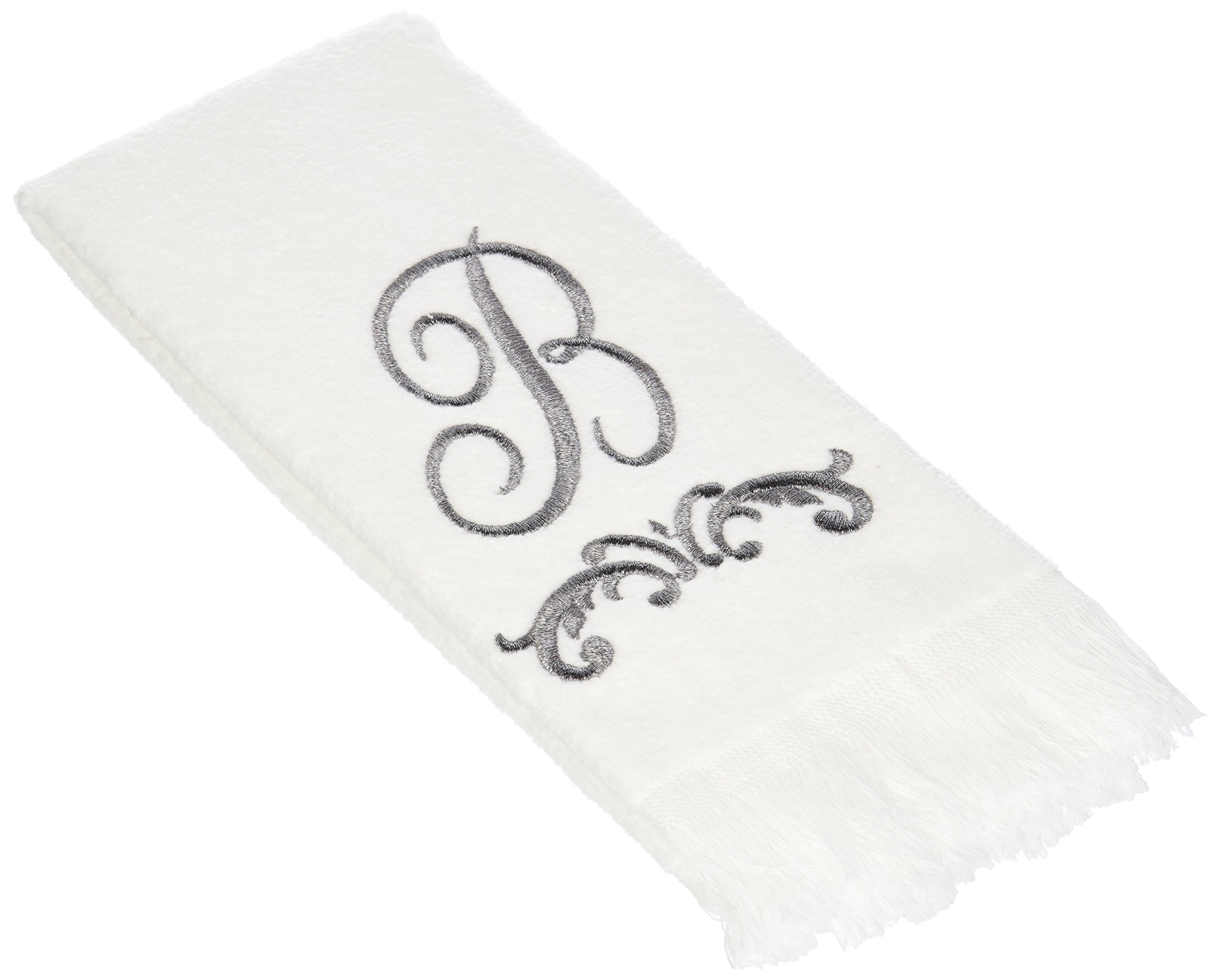 Avanti Monogram Fingertip Towel, P-Scroll, White/Pewter