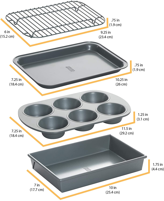 Carbon Steel 4-Piece Chicago Metallic 8044 Non-Stick Toaster Oven Bakeware Set