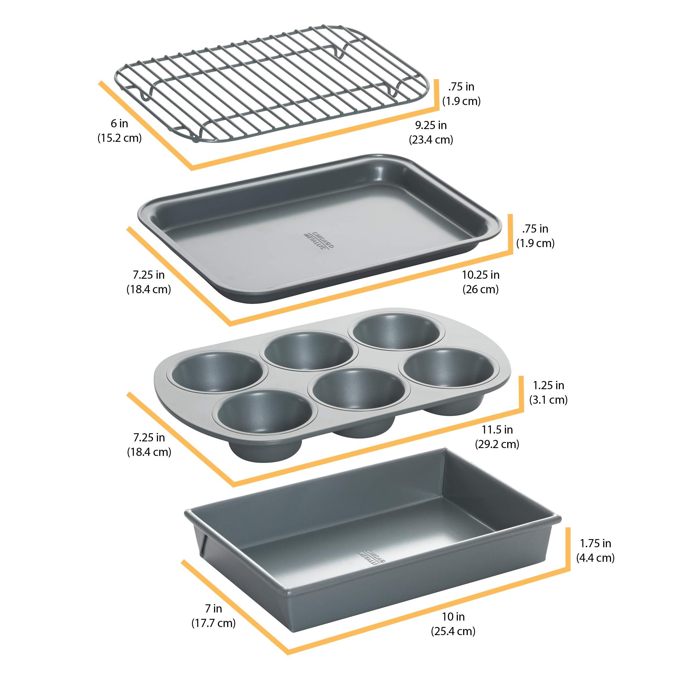 Chicago Metallic 8044 Non-Stick 4-Piece Toaster Oven Bakeware Set Set of 1 by Chicago Metallic (Image #4)