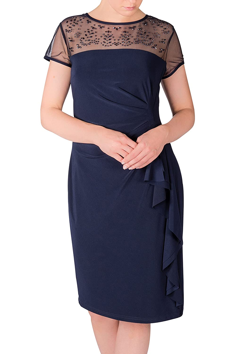 06e476131b3 Joseph Ribkoff Midnight Blue Sheer Neck Beaded Cocktail Dress Style 163164  at Amazon Women s Clothing store