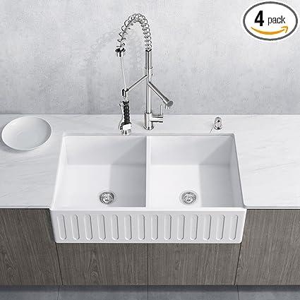 VIGO All In One 36u201d Matte Stone Double Bowl Farmhouse Sink Set With