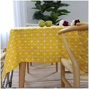 Incroyable Oyeahbridal Yellow Gingham Tablecloth Cotton Linen Checkered Tablecloths  For Kitchen Dinning, Party Tabletop Fabric