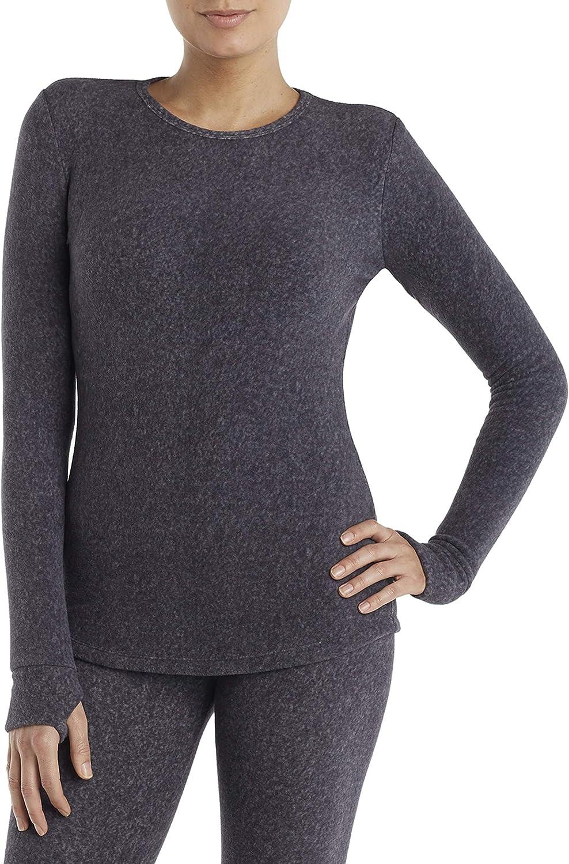 Cuddl Duds ClimateRight Women's Stretch Fleece Warm Underwear Long Sleeve Top (XXL - Grey Cationic) 81VIy2B4rYRL