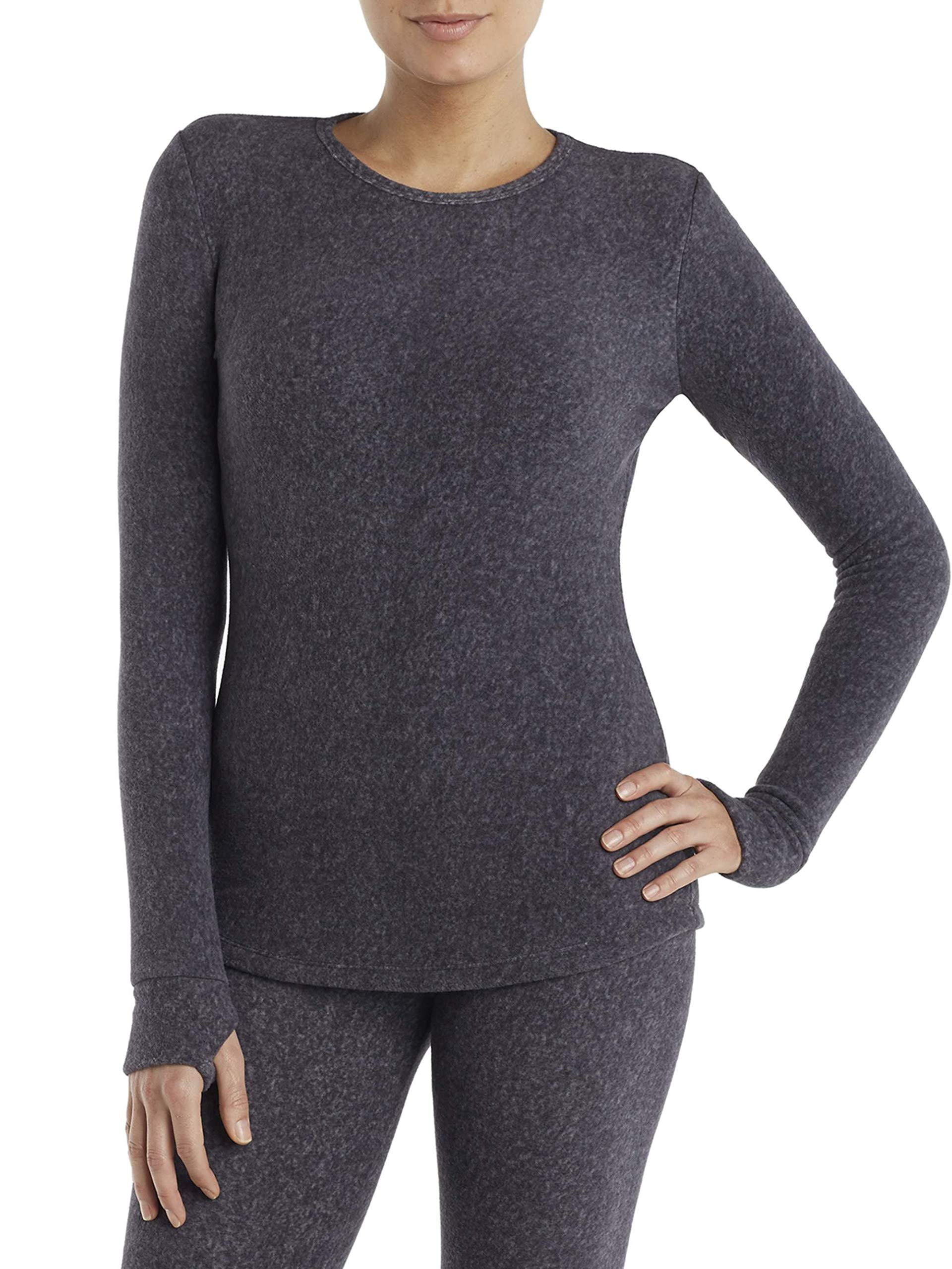 Cuddl Duds ClimateRight Women's Stretch Fleece Warm Underwear Long Sleeve Top (XXL - Grey Cationic) by Cuddl Duds