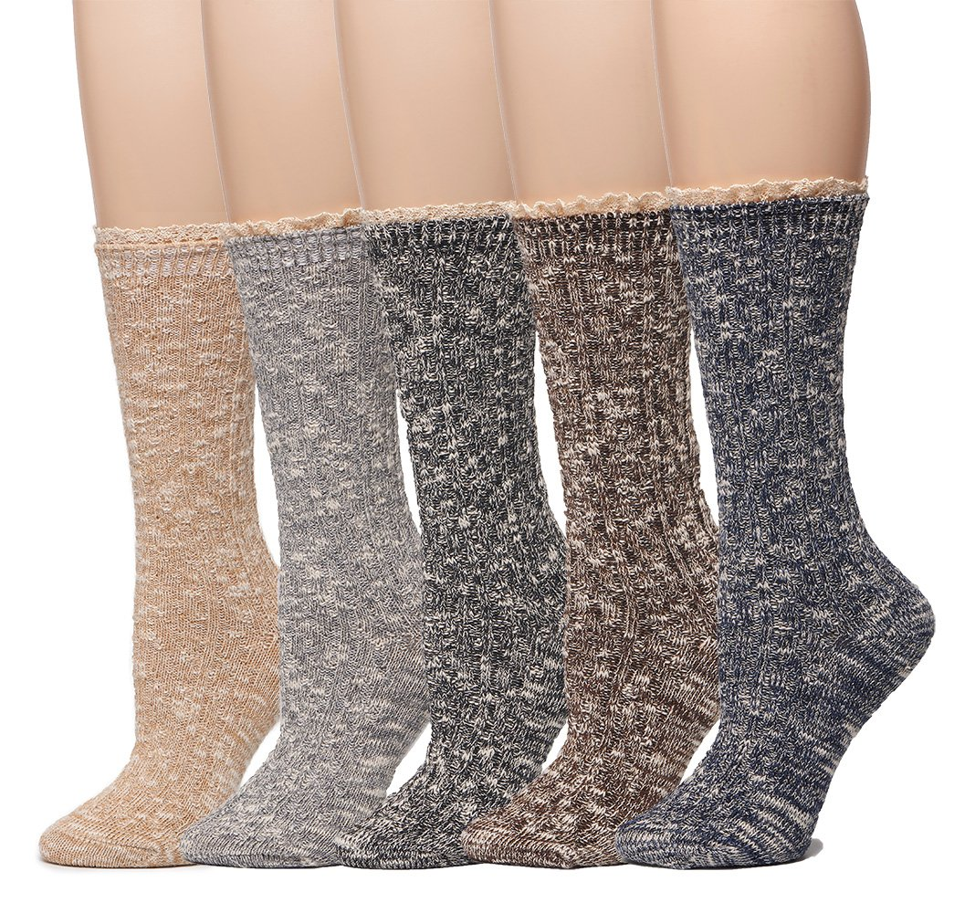 Leotruny 5-Pack Women's Lace Vintage Knit Dress Crew Boots Socks (Multicolor)