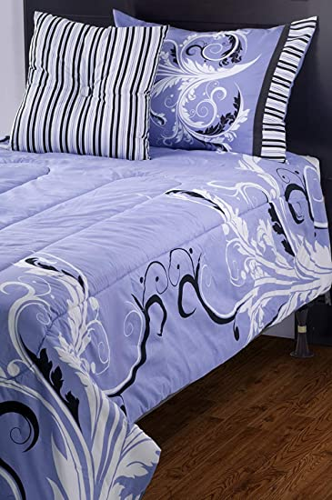 Rizzy Home Riz Kids Filligree Bed Skirt, Twin, Periwinkle