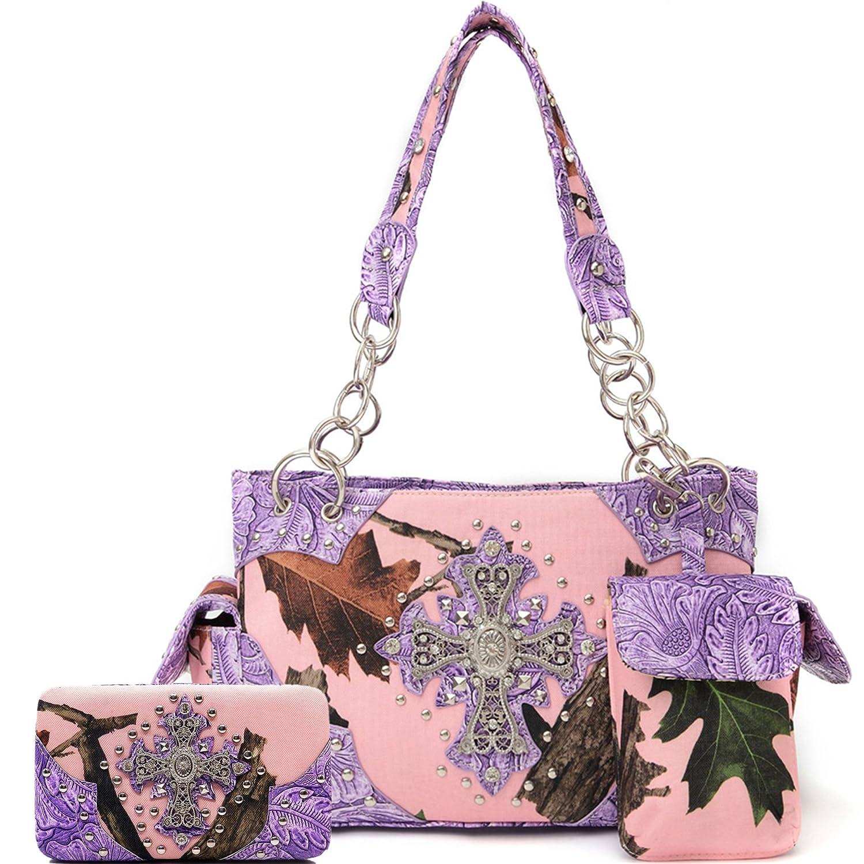 Cowgirl Trendy Western Concealed Carry Camouflage Cross Purse Handbag Shoulder Bag Wallet Set Purple