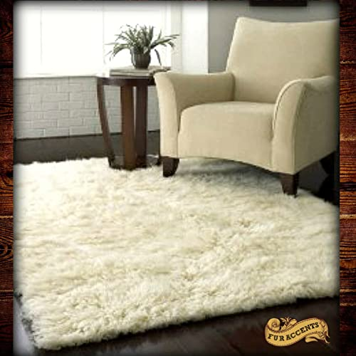 Fur Accents Faux Fur Shaggy White Sheepskin