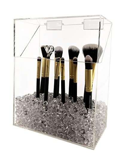 Makeup Brush Holder with Lid Large Size, Dustproof, with Diamond Beads  (Clear)