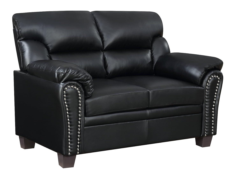 Furniture World Jefferson Sofa, Black Leather Look