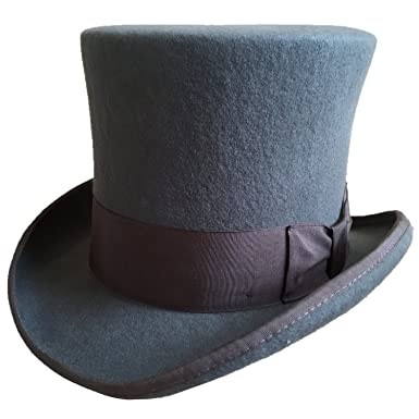 e9d3cddcf7d Gray Wool Felt Top Hat Victorian Mad Hatter 7 quot  Tall Gentlemen Magic  Topper Hats (