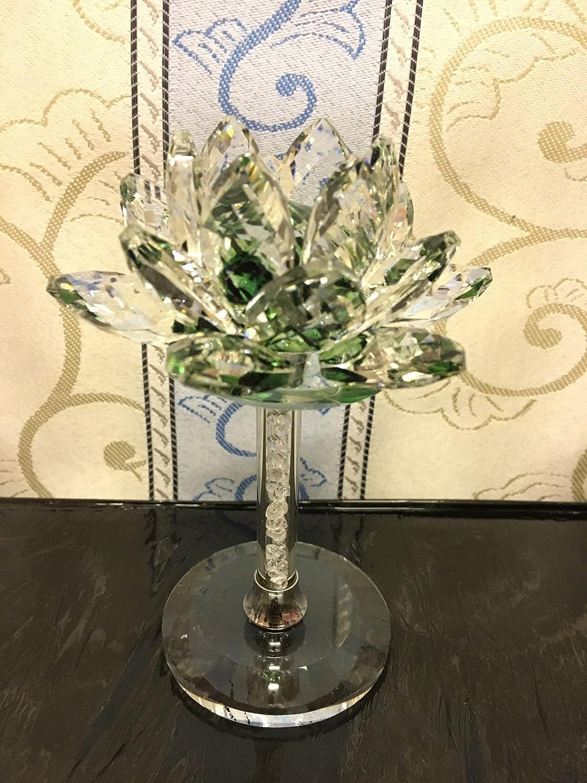 Verre Cristal Vert Value for Money Products D/écoration en cristal en forme de fleur de lotus sur colonne de cristal