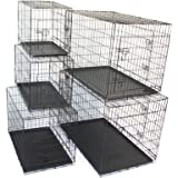 "Pet Dog Crate Metal Folding Cage Portable Kennel House Training Puppy Kitten Cat Rabbit with Removable Tray (Small 24"")"
