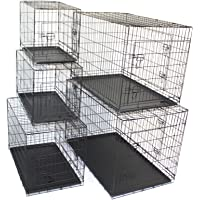 "Pet Dog Crate Metal Folding Cage Portable Kennel House Training Puppy Kitten Cat Rabbit with Removable Tray (Medium 30"")"