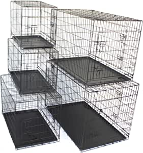 """Pet Dog Crate Metal Folding Cage Portable Kennel House Training Puppy Kitten Cat Rabbit with Removable Tray (Small 24"""")"""