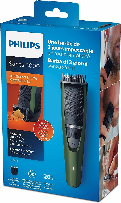Philips BEARDTRIMMER Series 3000 BT3211 - Afeitadora (3,2 cm, 1 h ...
