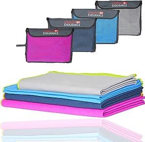 3 o 1 Asciugamano da Viaggio in Microfibra di DANISH ENDURANCE, ultra compatto, leggero, assorbente ad asciugatura rapida, ideale per viaggi, campeggio, gite, sport, palestra, ginnastica, yoga.