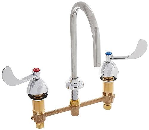 T S Brass B-2867-04FC Concealed Body 8-Inch Centers Plain End Rigid Gooseneck Lavatory Faucet with Wrist Handles