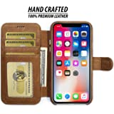 iPhone X Leather Case by Burkley, Wallet Folio Case for Apple iPhone X with Magnetic Closure| Book Style Cover with Card Holders and Kickstand in a Gift Box | TAN