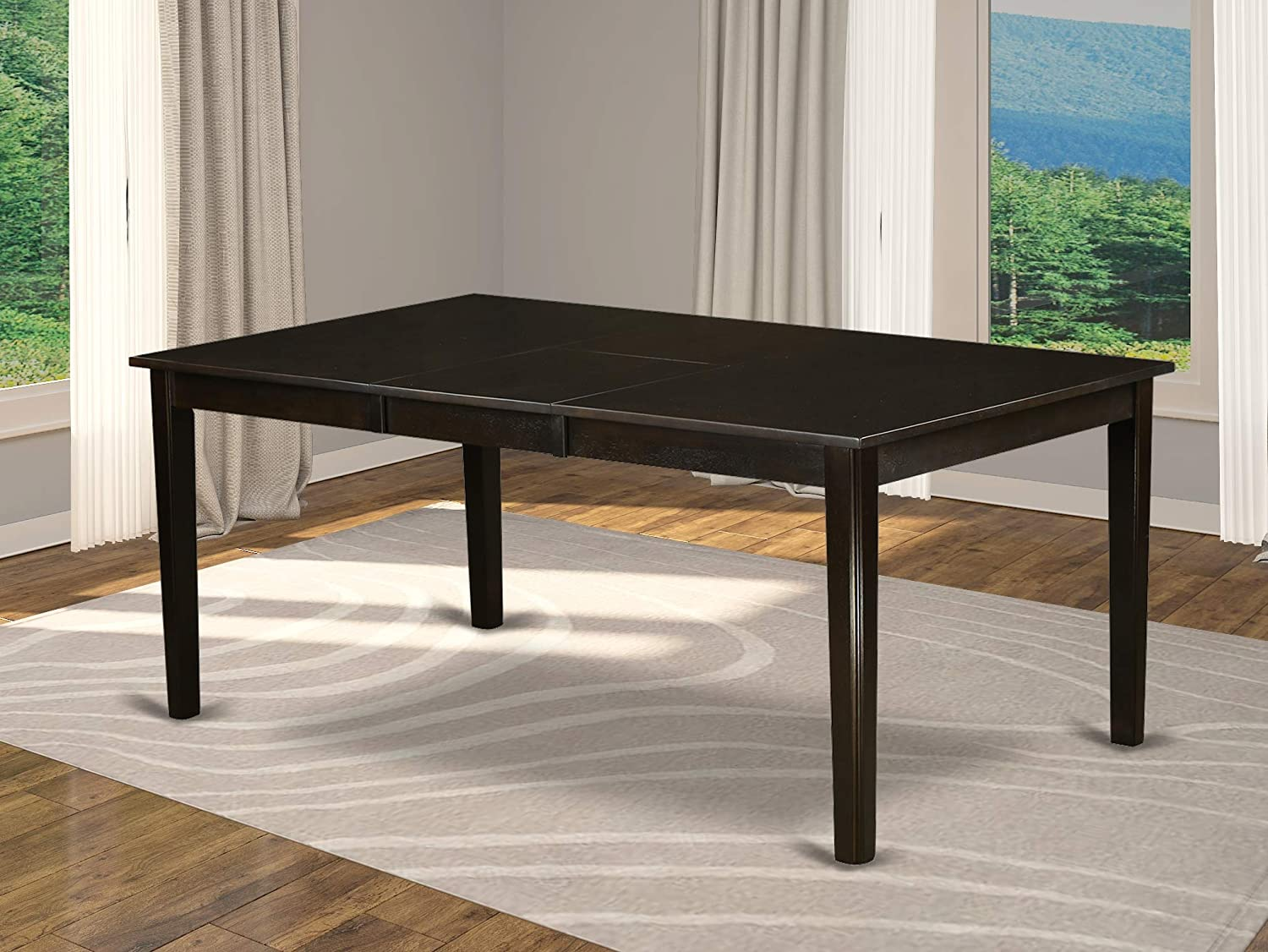 East West Furniture HET-CAP-T Rectangular Dining Room Table with 18-Inch Butterfly Leaf