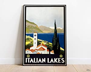 """Wrapped Framed Vintage Travel Italian Lakes, Travel Italy, Grafiche Modiano, Trieste, 1930s Wrapped Canvas Art Printing Home Decor in Office Bedroom Living Room 16"""" X 20"""" Ready to Hang"""