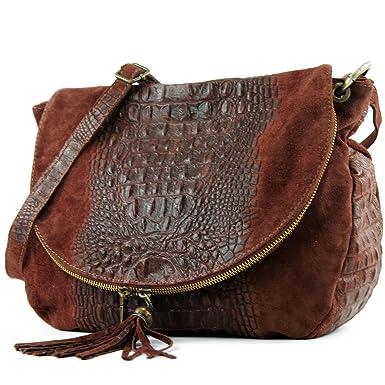 modamoda de - ital. Ledertasche Damentasche Umhängetasche Messenger Crossover Leder T06, Präzise Farbe:Schwarz modamoda de - Made in Italy