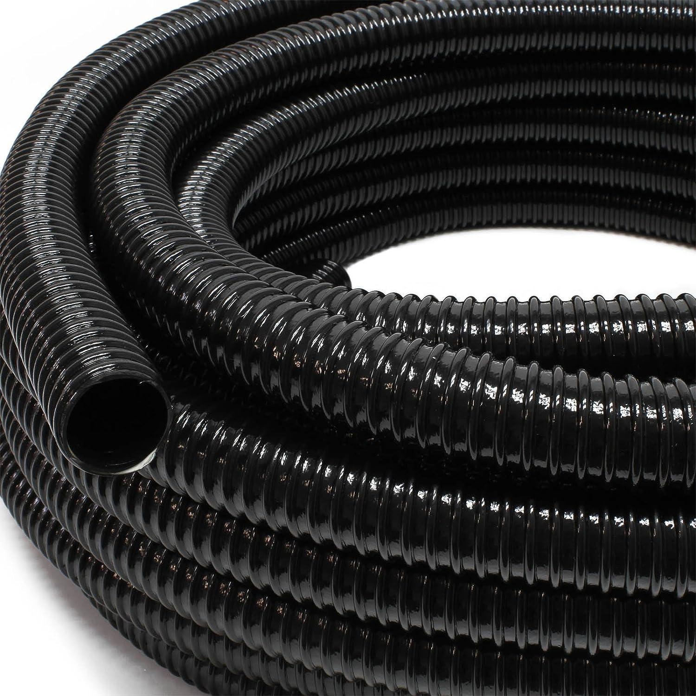 38 mm 1 1//2 schwarz Top Qualit/ät Spiralschlauch in 20 Meter L/änge Aquaristikwelt24 Teichschlauch