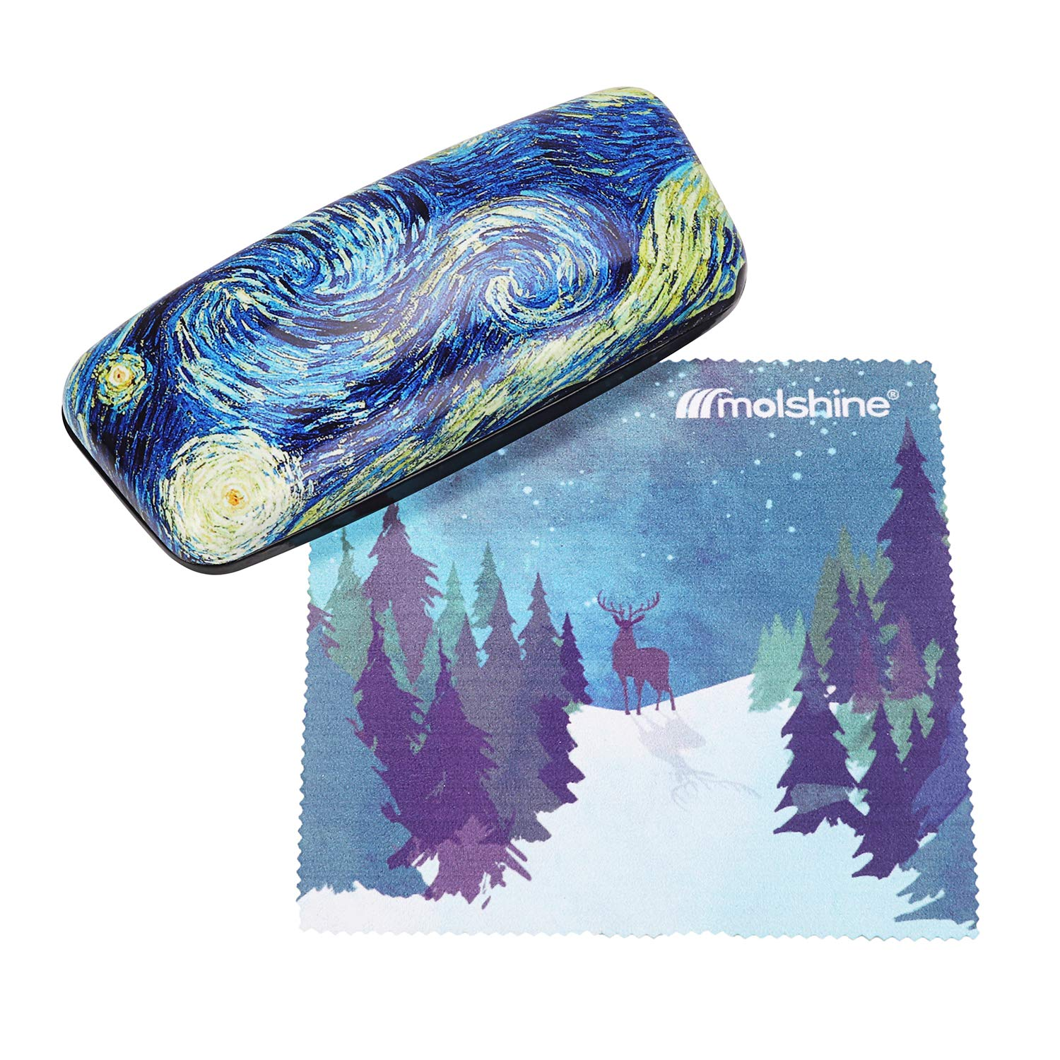 Molshine Oil Painting Pattern Portable Glasses Case for Reading Glasses (A)