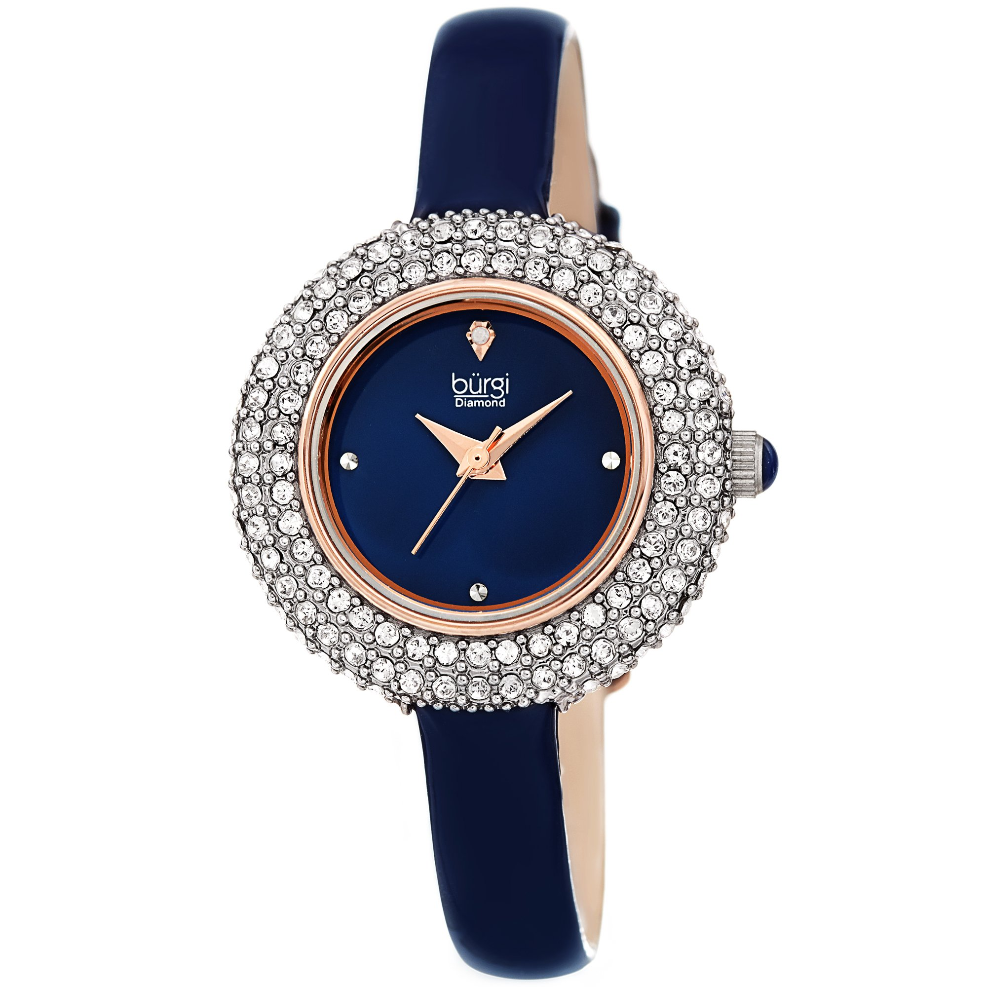 Burgi Women's BUR195 Swarovski Crystal & Diamond Accented Watch - Comfortable Leather Strap - Comes in A Gift Box (Rose Gold & Blue)