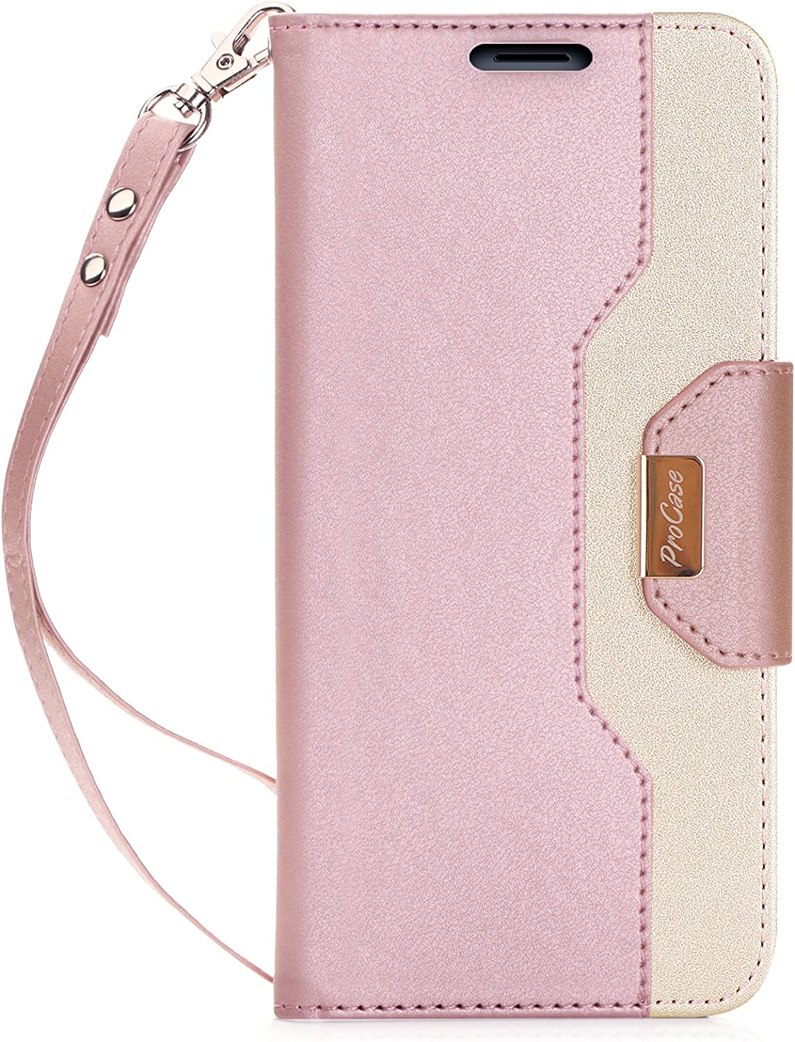 ProCase Galaxy Note 8 Wallet Case, Flip Kickstand Case with Card Slots Mirror Wristlet, Folding Stand Protective Cover for Galaxy Note8 2017 –Pink