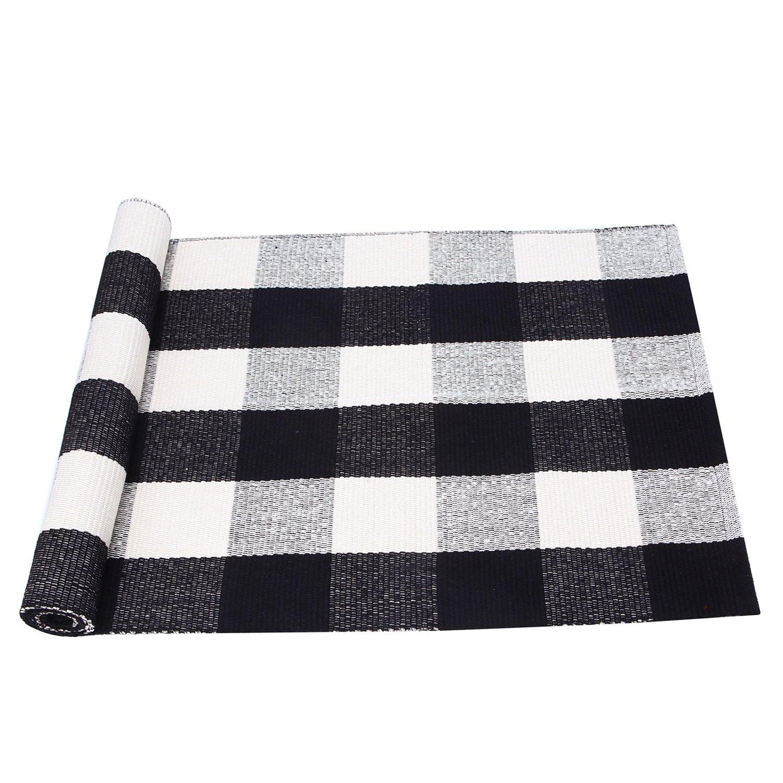 PRAGOO Black White Cotton Rug Plaid Checkered Area Rug Braided Kitchen Rug Runner Washable Mat Floor Carpet 60x180cm(23.6