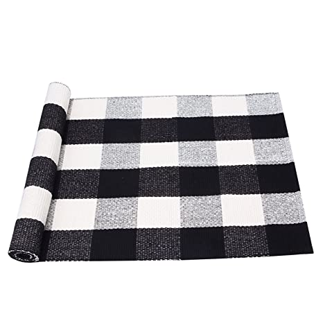 PRAGOO Black White Cotton Rug Plaid Checkered Area Rug Braided Kitchen Rug  Runner Washable Mat Floor
