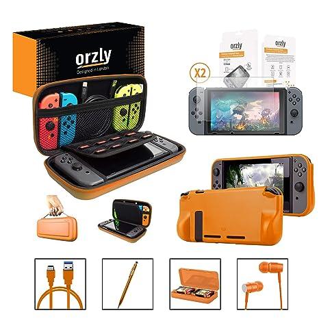 Orzly Accesorios para Nintendo Switch (Incluye: Protectores de Pantalla, Cable USB, Funda para Consola, Estuche Tarjetas de Juego, Comfort Grip para ...
