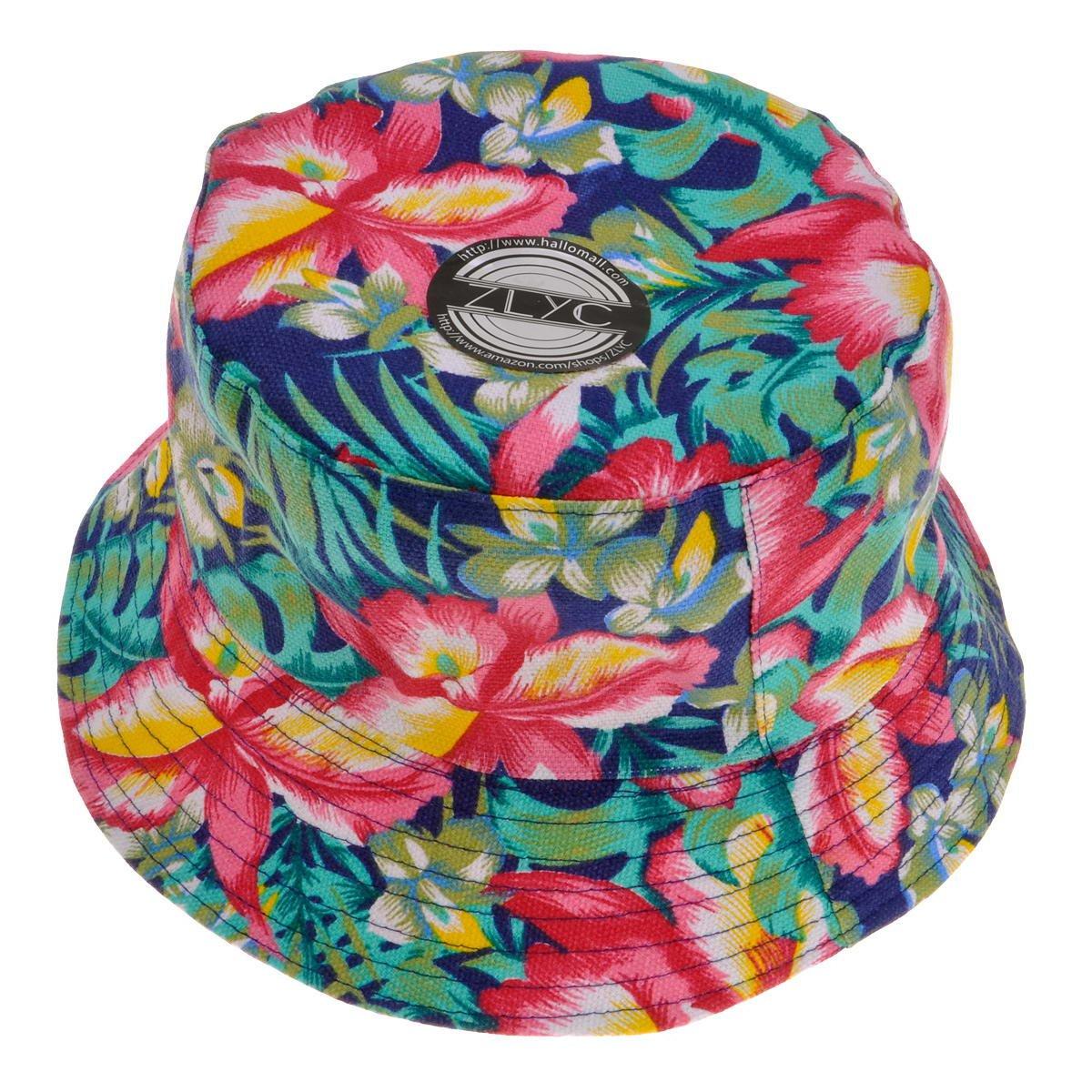 ZLYC Women Funky Floral Plant Rainforest Print Canvas Bucket Hat Fishmen Cap, Red ZYJ-MZ-092-RD_CA