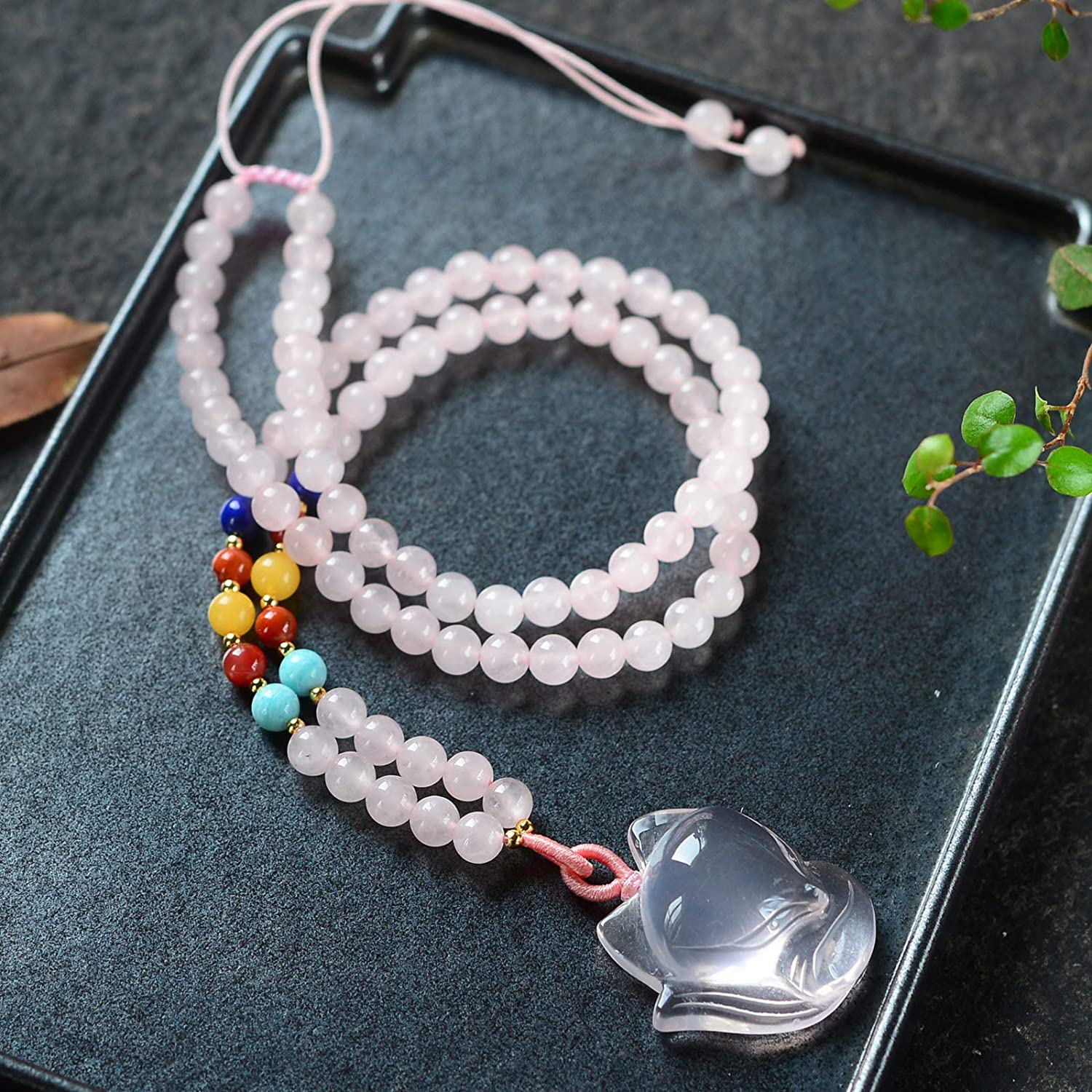 Genuine AAA Quality Rose Quartz Necklace Pendants Crystal Gemstone Round Beads