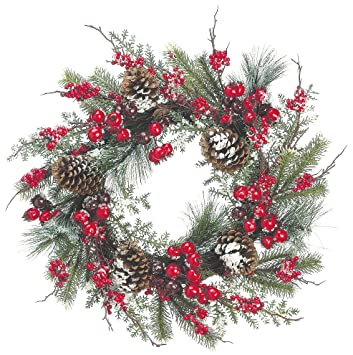 24 inch iced mixed pine christmas wreath with cranberry red berry and pine cone