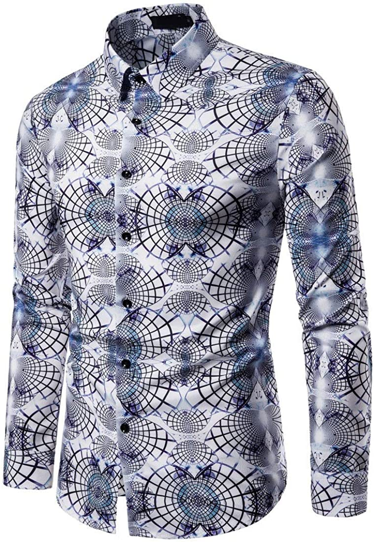 XiaoShop Men Casual Long Sleeve Turn Down Collar Classic-Fit Floral Print Longshirt