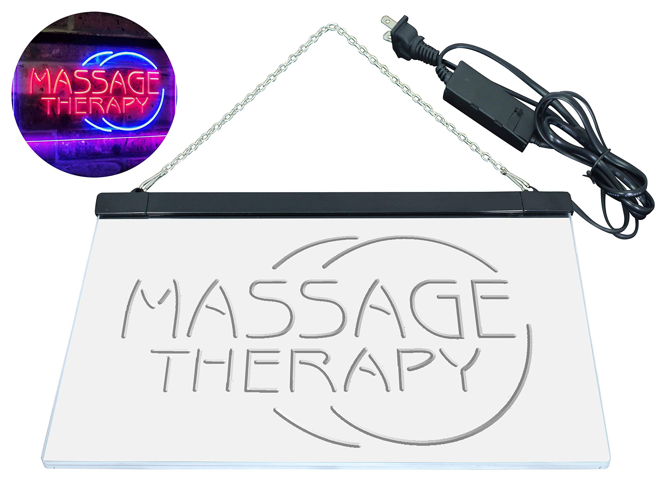 AdvpPro 2C Massage Therapy Business Display Dual Color LED Neon Sign Blue & Red 12'' x 8.5'' st6s32-i0315-br