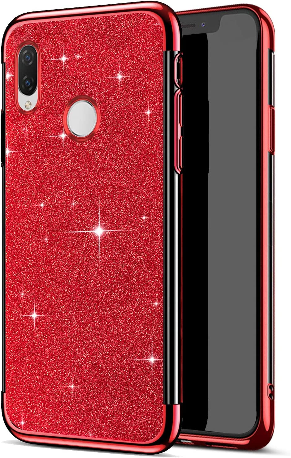 Herbests Compatible with Huawei Honor Play Case Women Girl Glitter Bling Crystal Sparkle Shiny Soft Transparent Plating TPU Silicone Rubber Shockproof Protective Case Cover,Silver