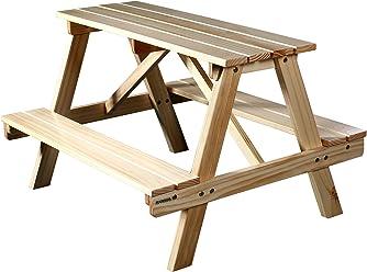 SixBros. Kinder Picknicktisch Gartengarnitur Bierbank Holz Tisch/Bank Kiefer - PTS-186-1/1158