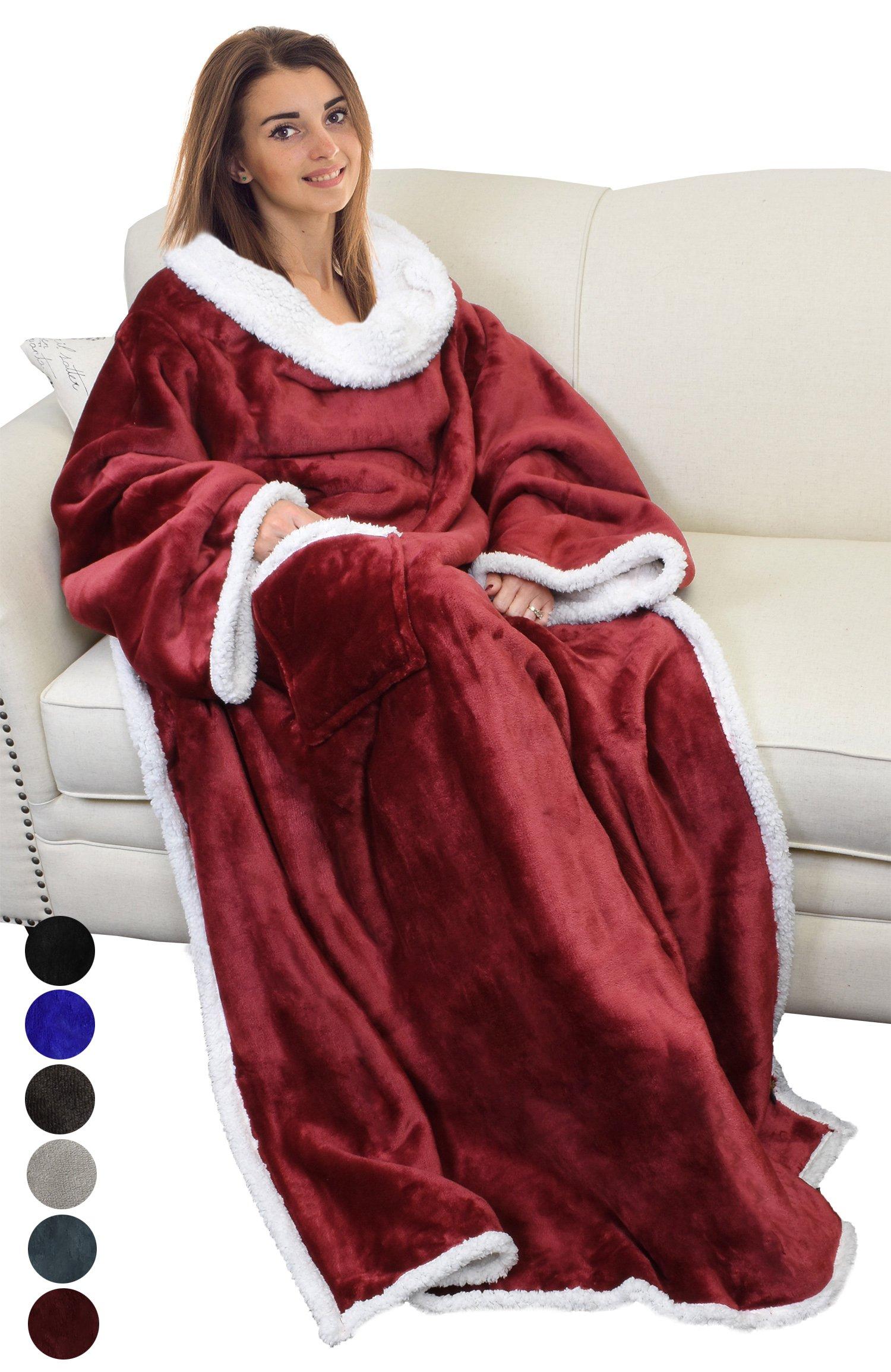 Catalonia Platinum Blanket with Sleeves, Dual Microplush Fleece Sherpa Warm Blankets for Adult Women Men 183cm x 140cm, Wine